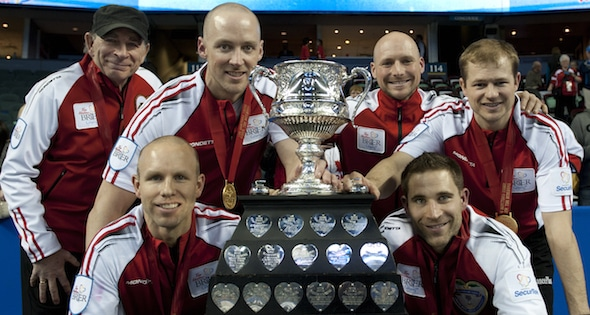 2015, Calgary Ab, Tim Hortons Brier, Team Canada skip Pat Simmons, lead Nolan Thiessen, second Carter Rycroft, Curling Canada/michael burns photo