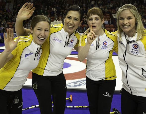 Team Canada, from left, Kaitlyn Lawes, Jill Officer, Dawn McEwen and Jennifer Jones will take on Finland on Saturday in Sapporo, Japan, to open the ZEN-NOH World Women's Curling Championship, presented by Ford of Canada. (Photo, Curling Canada/Andrew Klaver)
