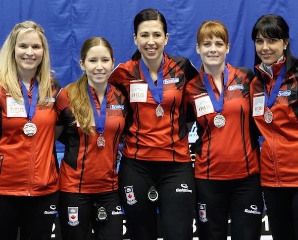 Team Canada, silver-medallists, from left, skip Jennifer Jones, third Kaitlyn Lawes, second Jill Officer, lead Dawn McEwen, alternate Jennifer Clark-Rouire. (Photo, WCF/Richard Gray)
