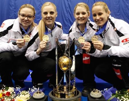 Team Switzerland, world champions, from left, skip Alina Pätz, third Nadine Lehmann, second Marisa Winkelhausen and lead Nicole Schwägli. (Photo, WCF/Richard Gray)