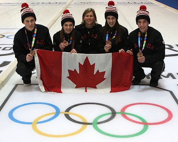 The 2012 Youth Olympics bronze medallists: skip Thomas Scoffin, third Corryn Brown, coach Helen Radford, lead Emily Gray and second Derek Oryniak (Photo WCF/Richard Gray)