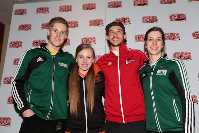 Youth Olympians Thomas Scoffin, Corryn Brown, Derek Oryniak and Emily Gray meet again at the 2015 CIS-Curling Canada University Curling Championships in Waterloo, Ont. (Photo Jamie Allen)