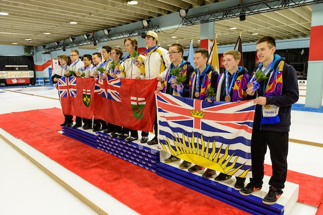 The medallists in the Men's Curling event at the 2015 Canada Winter Games: Manitoba (gold), Ontario (silver) and British Columbia (bronze). (Photo CWB/Bob Steventon)