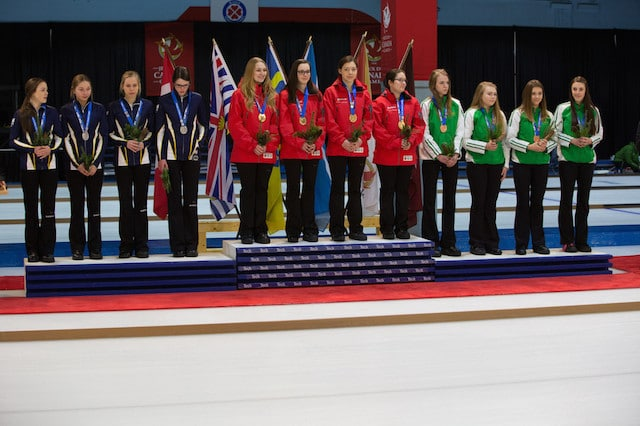 The medallists in the Women's Curling event at the 2015 Canada Winter Games: Ontario (gold), Nova Scotia (silver) and Saskatchewan (bronze). (Photo CWG/Chris Leboe)