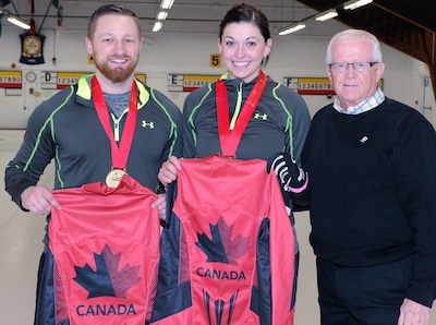 Team Canada for the World Mixed Doubles Championship, from left, Charley Thomas, Kalynn Park and coach Jim Waite.