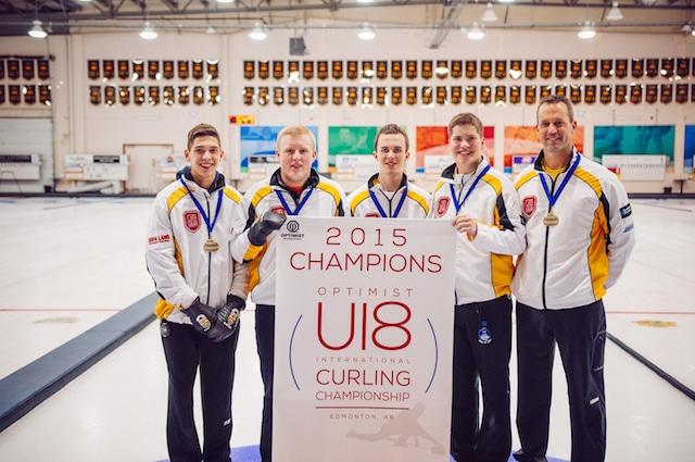 Gold medallists, Team Manitoba: Hayden Forrester, Andrew Clapham, Brett MacDonald Cole Chandler and coach Bill MacDonald (Detour Photography)