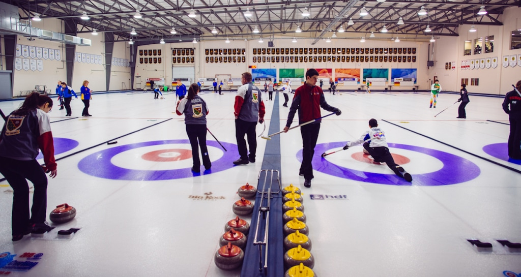 Action on the ice at the Jasper Place Curling Club (Detour Photography)