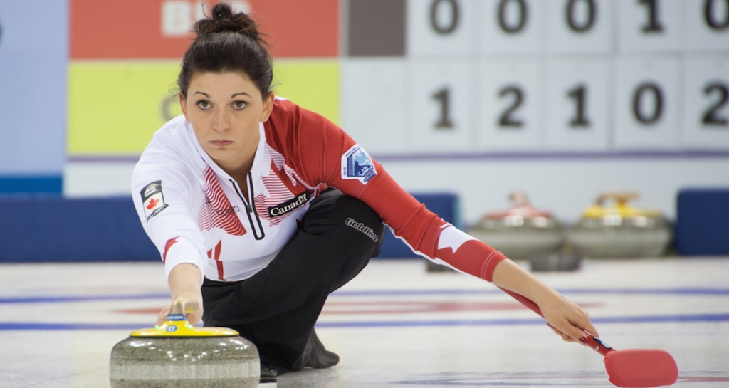 Kalynn Park delivers her stone during action at the 2015 World Mixed Doubles Curling Championship in Sochi, Russia (WCF/Alina Pavlyuchick Photo)