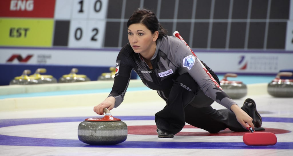Kalynn Park in action at the 2015 World Mixed Doubles Curling Championship in Sochi, Russia (WCF/Alina Pavlyuchik Photo)
