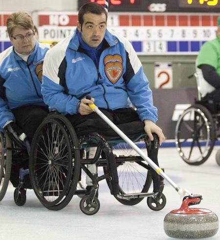 Quebec skip Benoît Lessard, right, and teammate Johanne Daly.