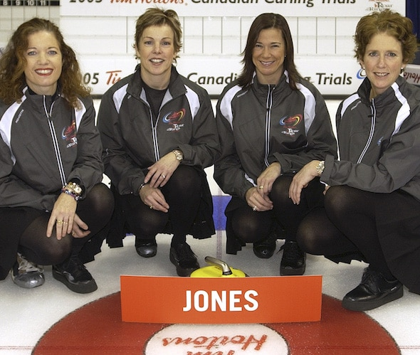 Colleen Jones, left, will be joined in the Curling Canada Hall of Fame by her longtime teammates Kim Kelly, Mary-Anne Arsenault and Nancy Delahunt. (Photo, Curling Canada/Michael Burns)