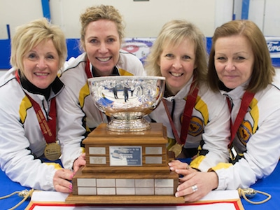 Team Canada for the World Senior Women's, from left, skip Lois Fowler, third Maureen Bonar, second Cathy Gauthier and lead Allyson Stewart.