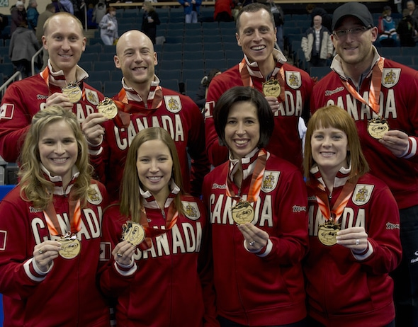 The winners of the 2013 Tim Hortons Roar of the Rings, and eventual 2014 Winter Olympics gold-medallists. From left, top, Brad Jacobs, Ryan Fry, E.J. Harnden, Ryan Harnden. Bottom, from left, Jennifer Jones, Kaitlyn Lawes, Jill Officer, Dawn McEwen. (Photo, Curling Canada/Michael Burns)
