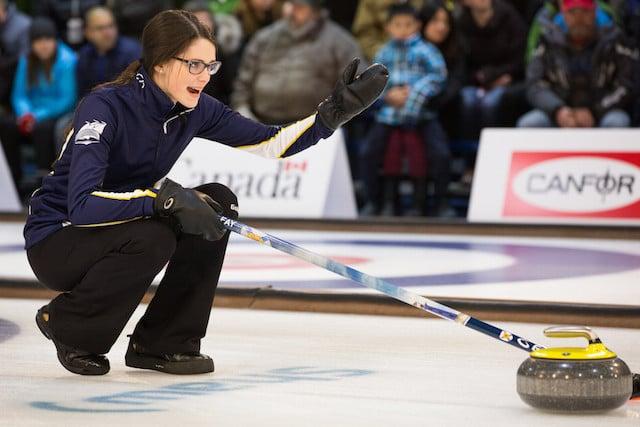 Mary Fay calls the line as skip of Team Nova Scotia at the 2015 Canada Winter Games (Photo CWG/Chris Leboe)