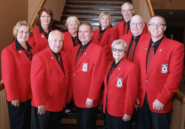 Curling Canada's 2015-16 Board of Governors, from left, Lena West, Cindy Maddock, Peter Inch, Cathy Hughes, Hugh Avery, Maureen Miller, Shirley Osborne, Ron Hutton, Resby Coutts, Scott Comfort. (Photo, Curling Canada/Neil Valois)