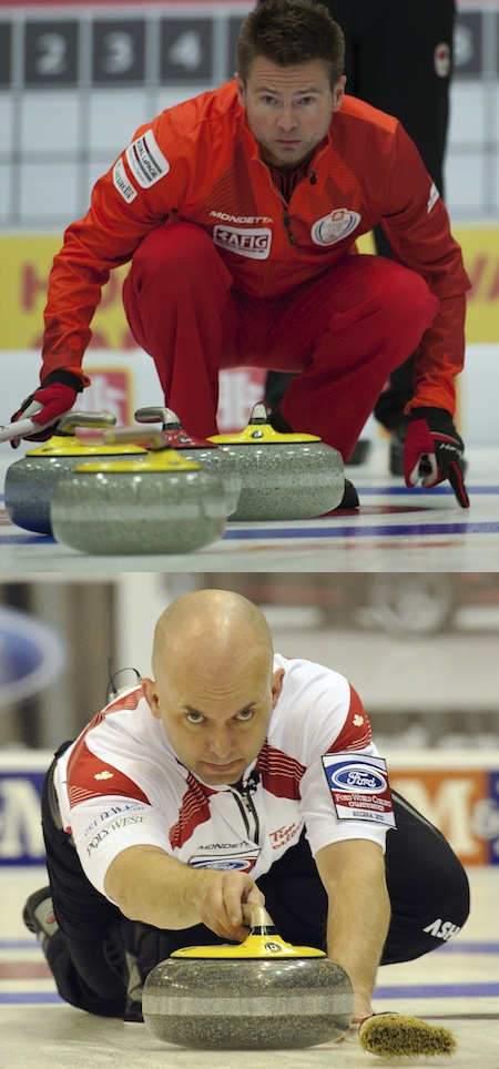Mike McEwen, top, and his Winnipeg team have added veteran Jon Mead, below, to the lineup to fill a variety of roles in the 2015-16 season. (Photos, Curling Canada, Michael Burns)