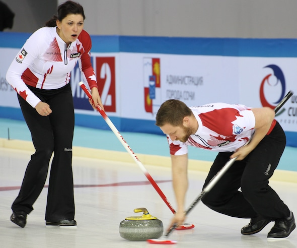 Kalynn Park, left, and Charley Thomas, in action at the 2015 World Mixed Doubles Championship earlier this year in Sochi, Russia. (Photo, World Curling Federation/Alina Pavlyuchik)