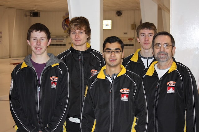 Chris Shaw (second from left) poses with his childhood friends and curling teammates (l-r) Derek Harrison, Eric Nugent, Lyndon Walker, and coach Russ Hinds at the Assiniboine Memorial Curling Club. The team won bronze medals at the 2010 Manitoba Winter Games and made an appearance at the 2011 Junior Men's Provincial Curling Championship. (Photo courtesy of Shaw family)