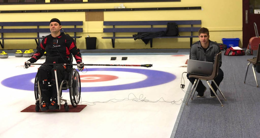 Curler Mark Ideson and University of Waterloo researcher Brock Laschowski (Photo courtesy Dr. John McPhee)
