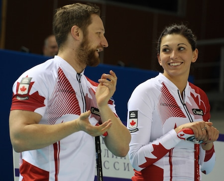 Defending Canadian mixed doubles champs Charley Thomas, left, and Kalynn Park, along with 2014 champs Wayne and Kim Tuck, will compete later this month in New Zealand. (Photo, World Curling Federation)