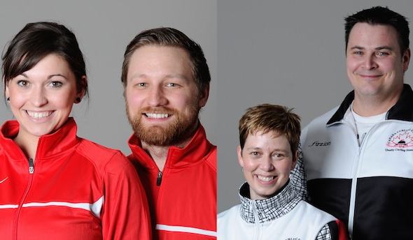 The past two Canadian mixed doubles champions — Kalynn Park and Charley Thomas, left, and Kim Tuck and Wayne Tuck, right — will be competing in the Audi quattro Winter Games New Zealand.