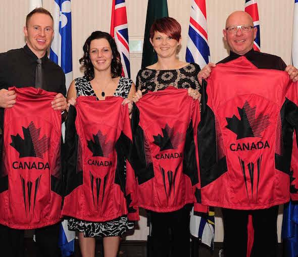 Team Canada, from left, second Chris Haichert, lead Teejay Haichert, vice-skip Jolene Campbell and skip Max Kirkpatrick.