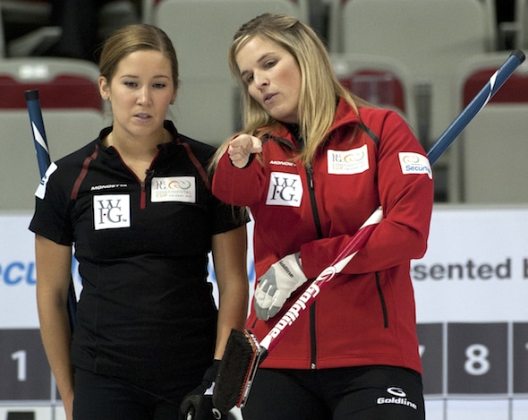 Jennifer Jones, right, and third Kaitlyn Lawes are kicking off their 2015-16 season this weekend at the Stu Sells Tankard in Oakville, Ont. (Photo, Curling Canada/Michael Burns)