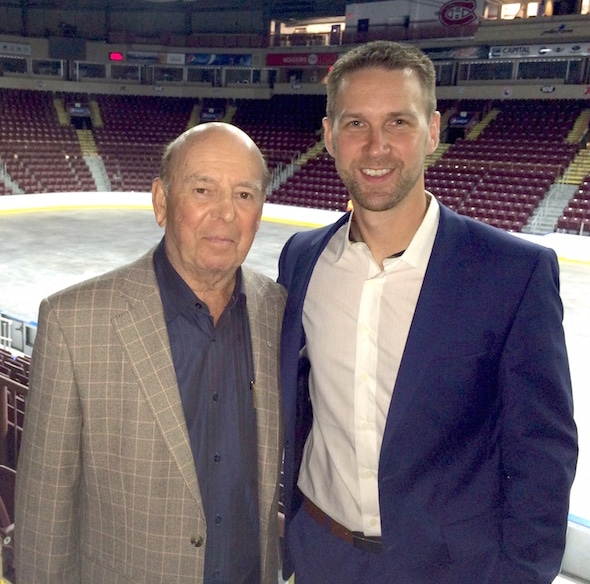 Bob Cole and Brad Gushue at Mile One Centre in St. John's.