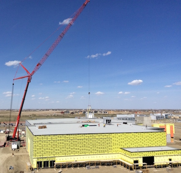 The Crossings Ice Complex, currently under construction in Lethbridge, Alta., will play host to the 2017 World Mixed Doubles and World Senior Curling Championships. (Photos, courtesy Ward. Bros. Construction)