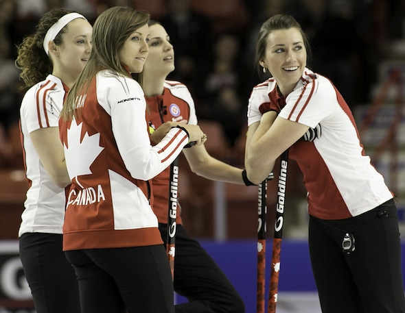 Team Homan, from left, Joanne Courtney, Rachel Homan, Lisa Weagle and Emma Miskew prevailed at the Stu Sells Tankard on the weekend in Oakville, Ont. (Photo, Curling Canada/Andrew Klaver)