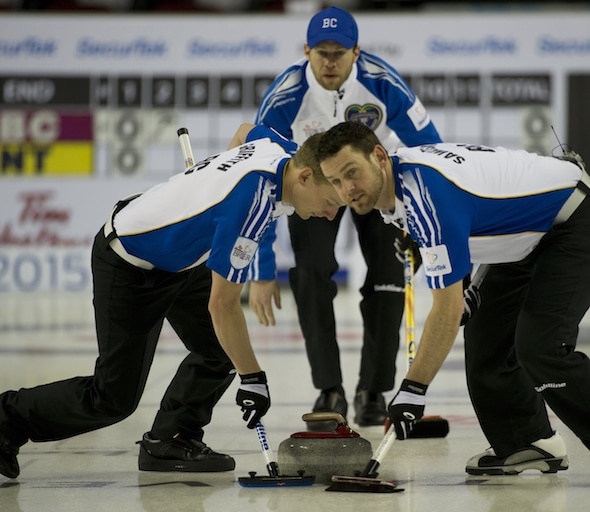 Skip Jim Cotter, top, and his teammates Tyrel Griffith, left, and Rick Sawatsky are off to a solid start at the Grand Slam Masters of Curling in Truro, N.S. (Photo, Curling Canada/Michael Burns)