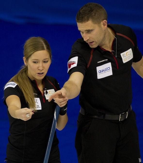 Kaitlyn Lawes, left, and John Morris played mixed doubles together at the 2015 World Financial Group Continental Cup in Calgary. They're playing with new partners this week in Portage la Prairie, Man. (Photo, Curling Canada/Michael Burns)