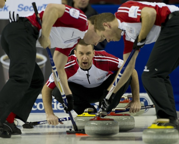Skip Brad Gushue and teammates Brett Gallant, left, Geoff Walker, right, and Mark Nichols (not shown) won another World Curling Tour event over the weekend. (Photo, Curling Canada/Michael Burns)