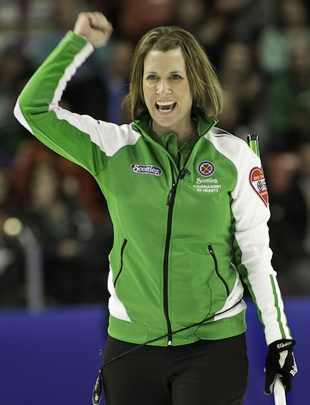 Stefanie Lawton and her team from Saskatoon won a World Curling Tour event on the weekend in Vernon, B.C. (Photo, Curling Canada/Andrew Klaver)
