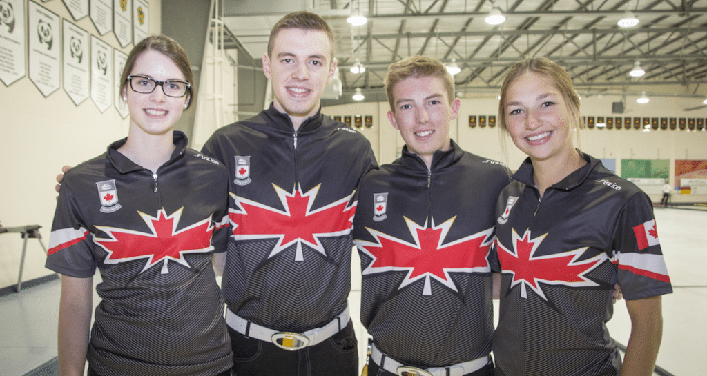 """We are really beginning to come together as a team,"" says Karlee Burgess of Canada's Youth Olympics team after the end of summer training. From left to right, Mary Fay, Tyler Tardi, Burgess and Sterling Middleton (Photo courtesy H. Radford)"