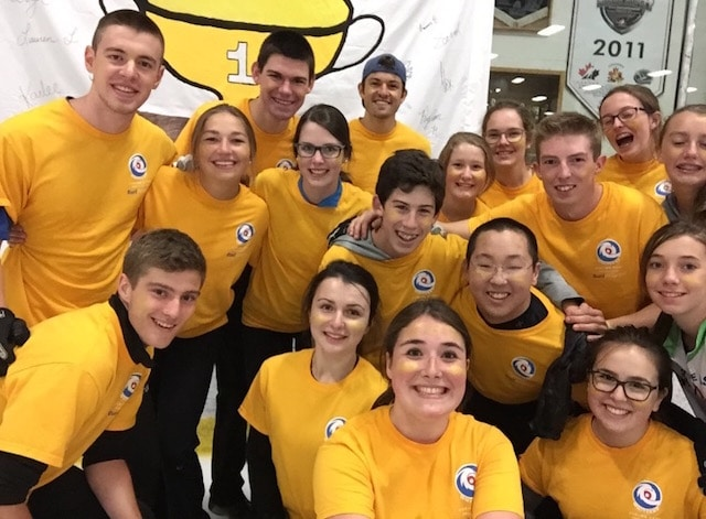The Gold Team, including Canada's Youth Olympics foursome, celebrates winning the Cheer Off at Whitecap Curling Camp in Cornwall, P.E.I. (Photo courtesy Karlee Burgess)