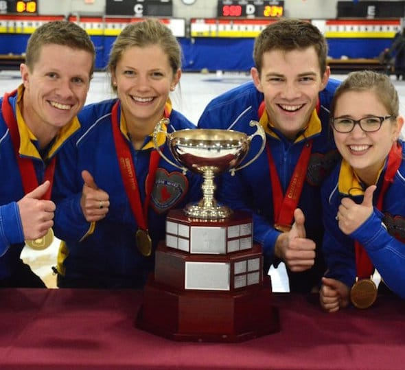 Team Alberta, 2016 Canadian Mixed champs, from left, skip Mick Lizmore, third Sarah Wilkes, second Brad Thiessen, lead Alison Kotylak. (Photo, Curling Canada/Sonja DiMarco)