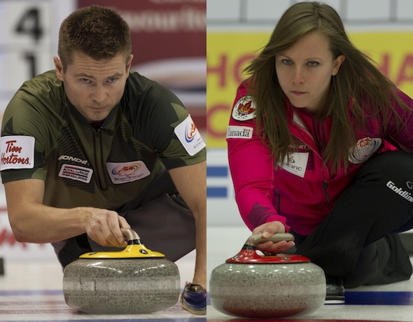 Mike McEwen, left, and Rachel Homan won the men's and women's titles at the Grand Slam Masters of Curling in Truro, N.S. (Photo, Curling Canada/Michael Burns)