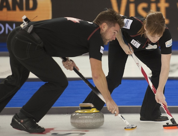 Mike and Dawn McEwen are teaming up this week at the Wall Grain Mixed Doubles Classic in Oshawa, Ont. (Photo, Curling Canada/Michael Burns)