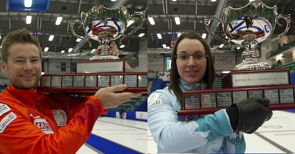 The 2014 champions of the Home Hardware Canada Cup, Mike McEwen and Val Sweeting, will be back this year in Grande Prairie to defend their titles. (Photos, Curling Canada/Michael Burns)