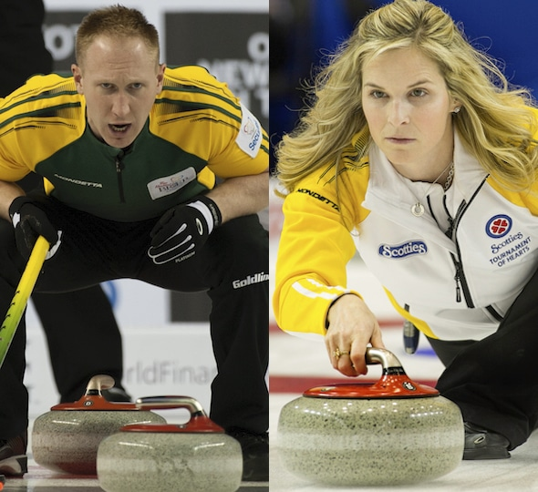 Brad Jacobs, left, and Jennifer Jones have their teams off to a solid start at the Pinty's Grand Slam National in Oshawa, Ont. (Photos, Curling Canada)