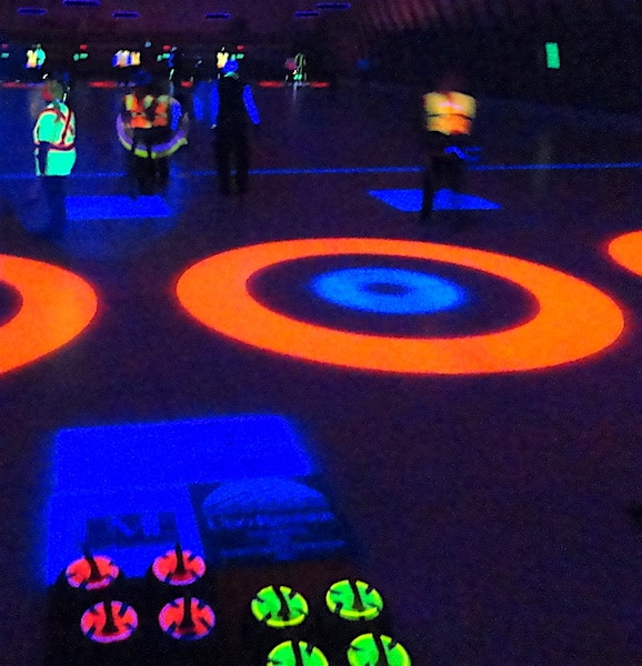 It's all glowing rings, lines and curlers at Sun Parlour Curling Club's Halloween glow-in-the-dark bonspiel (Photo courtesy of C. Thomson)