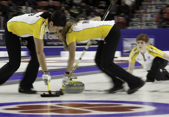 Team Jones, with Jill Officer, Kaitlyn Lawes and Dawn McEwen, will be competing this weekend in Morris, Man. (Photo, Curling Canada/Andrew Klaver)