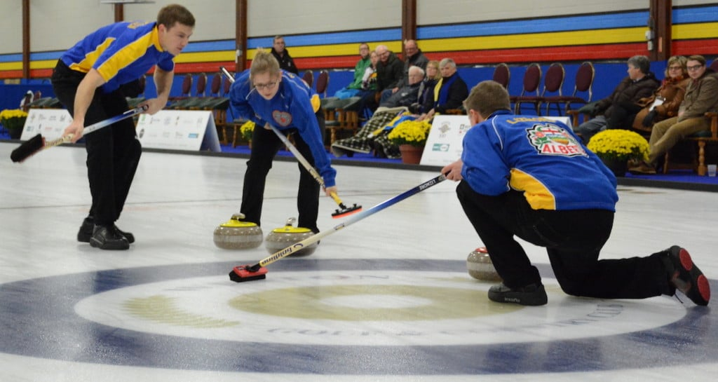Team Alberta in action at the 2016 Canadian Mixed Curling Championship (Curling Canada/Sonja DiMarco Photo)
