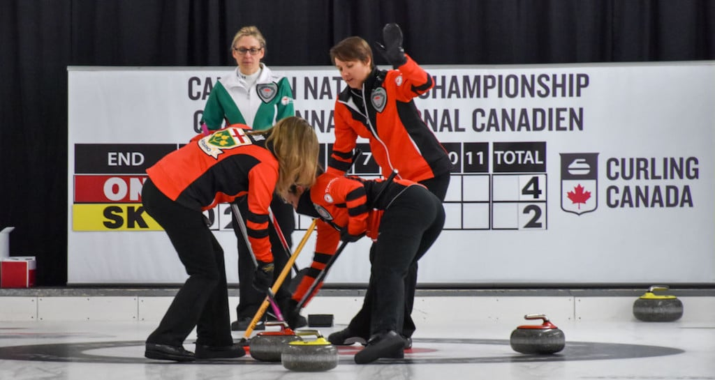Team Ontario in action at the 2015 Travelers Curling Club Championship (Curling Canada/Claudette Bockstael Photo)