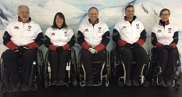 Team Canada, from left, Jim Armstrong, Ina Forrest, Dennis Thiessen, Mark Ideson and Sonja Gaudet.