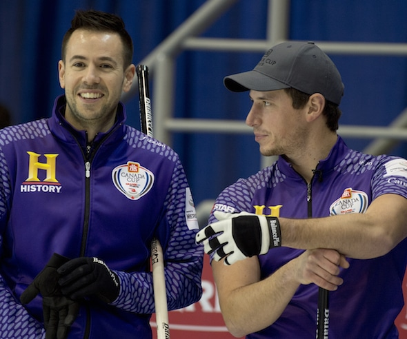 John Epping, left, and Mat Camm are on a roll of late, including a win in the Meridian Canadian Open on Sunday. (Photo, Curling Canada/Michael Burns)