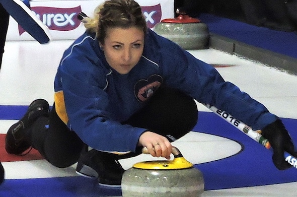 Alberta skip Selena Sturmay delivers her rock during Sunday's win over Quebec. (Photo, Curling Canada)
