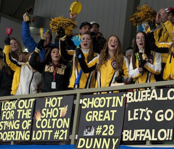 Manitoba fans had plenty of reasons to be cheering on Saturday night. (Photo, Curling Canada/Michael Burns)