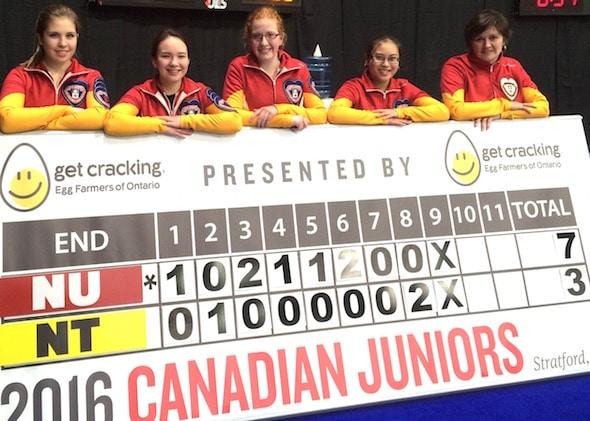 Team Nunavut and the historic scoreboard. From left, Sadie Pinksen, Christianne West, Kaitlin MacDonald, Melicia Elizaga and coach Donalda Mattie. (Photo, Curling Canada)